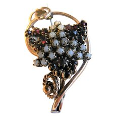 Victorian 10K Gold Bohemian Garnet & Moonstone Antique Brooch Pin