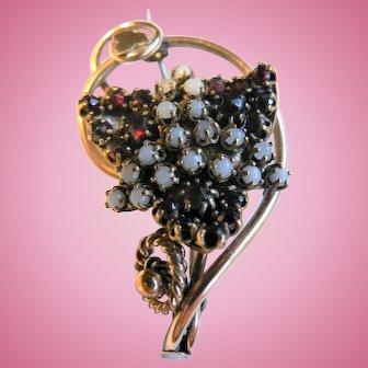 Victorian 10K Gold Bohemian Garnet & Moonstone Antique Brooch Pin