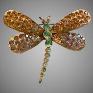 Rare Stunning Mid-Century Lucite / Gold Metal / Rhinestone Dragonfly Pin