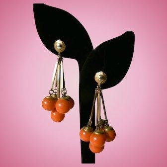 Vintage 1930's - 40's Dangle Bittersweet Orange Dangle Rod Glass Ball Clip Earrings