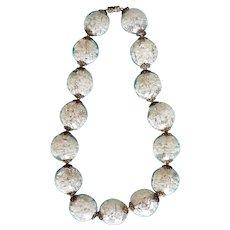 1950's Silver Foil & White Confetti Lucite Bead Necklace