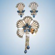Vintage Signed M&S 1950's Pendant & Screw Back Earring Set Gold Fill & Rhinestone