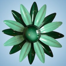 1960's Flower Power Enamel Daisy / Mum Shades of Green, Layered
