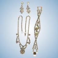 Vintage Spectacular Sparkling  Aurora Borealis Parure Necklace Bracelet Earrings
