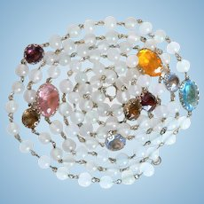 Vintage Moonstone Glass Bead & Open Pane Multi-Colored Crystal Flapper Style Necklace