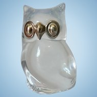 """"""" Made In France """" French Clear Crystal Owl with Silver Metal Eyes & Beak Paperweight Figurine"""