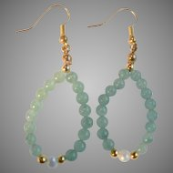 Vintage Jade Toned & Cultured Pearl Bead Dangle Loop Pierced Earrings