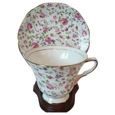 Vintage Chintz Rose Style Tuscan Bone China English Cup & Saucer