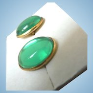 Vintage Kelly Green Glass Cabochon Cuff Links