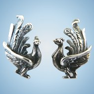Sterling Silver Figural Ornate Peacock Vintage 1940's Screwback Earrings