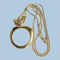 1990's Avon Long Chain Magnifying Apple Pendant Necklace