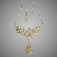 Spectacular Vintage Rhinestone Necklace with Dangle Drop
