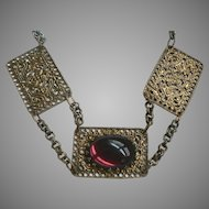 1960's Victorian Style Filigree Chunky Amethyst Cabochon Necklace