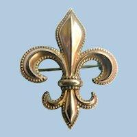 Vintage Fleur-De-Lis Watch Pin Gold Fill Scarab Signed