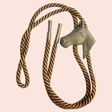 Vintage 1950s Bronze Horse Head Slide Bolo Tie