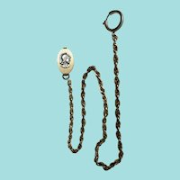 Men's Sterling Pocket Watch Chain with Armor Medallion Clasp