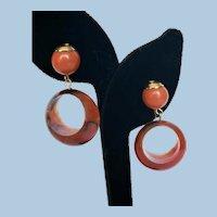 Lovely Mid Century  Vtg. Tortoise Shell Color Lucite Dangle Hoop Earrings Stamped W. Germany