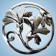 Antique Art Nouveau Large 22.7 Grams Sterling Silver Flower Brooch / Pin
