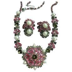 Vtg. Crown Trifari Smoky Quartz, Pink Rhinestone & Faux Pearl Necklace and Earrings Set