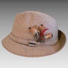 Old New Stock Men's Stetson Fedora Camel Colored Wool Felt Hat