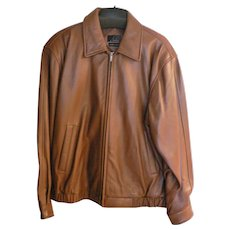 J. Ferrar Men's Chestnut Brown Leather Lambskin Bomber Jacket Sz. Large Grande (42-44)