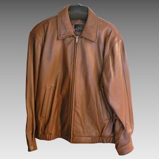J. Ferrar Men's Chestnut Brown Leather Lambskin Bomber Jacket Sz. Large Grande (42-44)