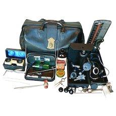 Antique Medical Doctors Leather Medical Bag with Instruments, & Bottles