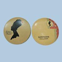 Vtg. 1920's-30's Deco Armands Creme Powder &  Symphonie Powder Salesman Sample Trial Tin Tins (2)