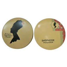 Vtg. 1920's-30's Deco Armands Creme Powder &  Symphonie Powder Salesman Sample Trial Tin Tins (2)