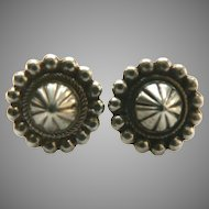 Very Old Handmade Sterling Silver Navaho Navajo Concho Earrings