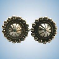 Very Old Handmade Sterling Silver Navaho Navajo Concho Earrings