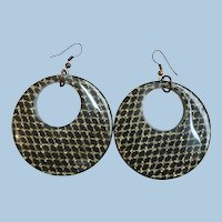 Large Retro 1950's Black Lucite & Controlled Gold Confetti Loop Pierced Dangle Earrings