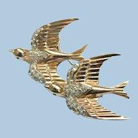 "Vtg. Coro Sterling ""Heavenly Swallows"" Bird Duette Brooch / Fur Clip 1944 BOOK PIECE"