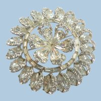 Large Clear Crystal Rhinestone Starburst Snowflake Swirl Rhodium Backed Brooch Pin Circa 1950s