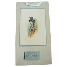 Antique 1913 Native American Indian Maiden Chromolithograph Complete Calendar