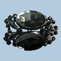 Antique Victorian Mourning Pin Brooch Black Jet Glass