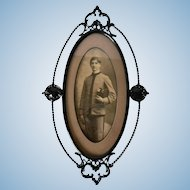 Antique Victorian Rococo Cast Iron & Enameled Brass Frame with Period Military / Academy Photograph