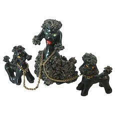 Mid-Century Glistening Mica Spaghetti  French Poodle with Chained Puppies