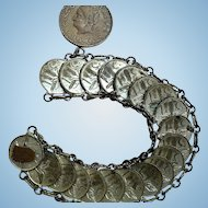 Vintage Mexican Centavos Coin Handcrafted Bracelet Authentic Coins C 1946 & 1952