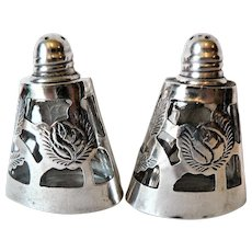Signed Sterling Silver Overlay Glass Salt & Pepper Shakers Mexico