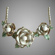 1930's Early 40's Coro Triple Rose Enameled Necklace