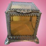 Vintage French Ormolu Jewelry Casket Trinket Box with Amber Glass
