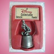 Vintage Disney Pewter Thimble Goofy Thinking Mint in Org. Box