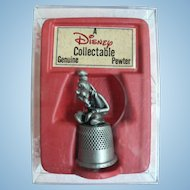 Vintage Disney Pewter Thimble Goofy Thinking Mint in Org. Box