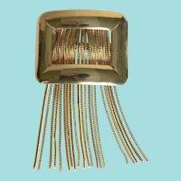 Mid-Century Modern Long Chain Tassel Fringe Buckle Pin Brooch
