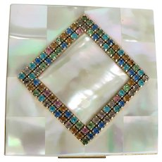 Vintage Elgin, American Pearlescent Compact : Mosaic MOP / Colored Rhinestones, Hand Set
