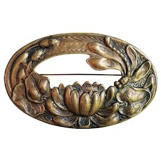 1890's Victorian Art Nouveau Sash Pin Brooch with Dragon Fly / Lily / Lily Pad Raised Aesthetic Relief