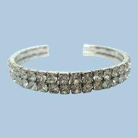 Glittery Mid Century Vintage Crystal Rhinestone Cuff Bracelet