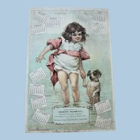 1909 Frances Brundage Chromolithograph Tremont Pharmacy, Boston Advertising Calendar Child  / Dog