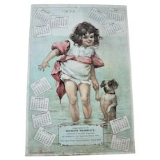 1909 Frances Brundage Chromolithograph Tremont Pharmacy, Boston Advertising Calendar Child  / Dog